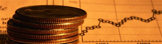 Crisi economica, monete e grafico